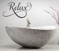 RELAX BATHROOM LETTERING QUOTE VINYL WALL DECAL FANCY WORDS BATH SOAK  UNWIND