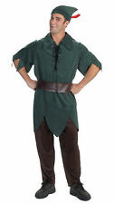 Peter Pan Adults Mens Tunic Costume Pants Belt And Hat Disney Halloween Disguise