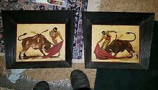 Pair @ 2 Vtg. Oil on Board Painting Bullfight Bull Matador Spain Signed