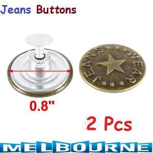 2x Denim Jeans Jeggings 20mm Tack Buttons Jacket Repair Replace Kids Women Mens