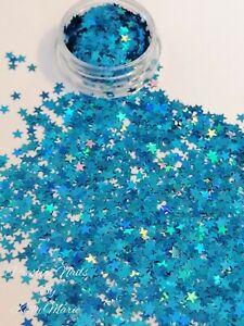2ml Pot Turquoise Holographic Stars Craft Embellishment Shaker Table sprinkles