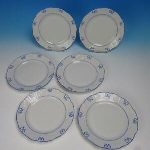 "Vista Alegre Portugal Fine Porcelain - Ruban Blue Ribbons - 6 Salad Plates - 8"""