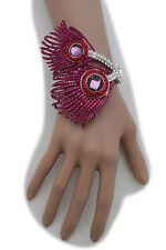 Hot Women Jewelry Silver Metal Cuff Bracelet Hot Pink Peacock Feather Bird Bling