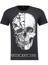 New Mens Oxcid Geometric Skull Diamante Tee T Shirt