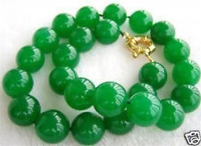 "New 10MM NATURAL GREEN JADE ROUND BEAD NECKLACE 18"" AAA+"