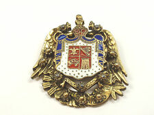 Vintage Enamel Coat of Arms w/ Crown Eagle Castle Harp Brooch Pin - FREE SHIP