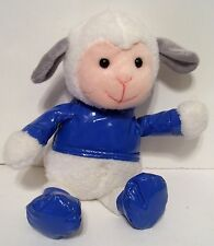 PLUSH WHITE LAMB WITH BLUE JACKET SHOES EASTER BASKET DECORATION SPRING
