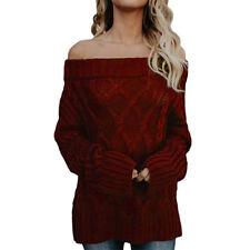 Damen Sexy Schulterfrei Strickpullover Sweater Sweatshirt Wolle Winter Pulli Top