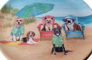 """Summer Melamine Plates 11"""" Dinner Size Dogs Hanging At The Beach Dog Happy Hour"""