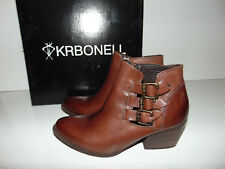 Women's KRBONELL Cognac Brown Boots Buckles Size 8 M Ladies $139 NEW W/ BOX