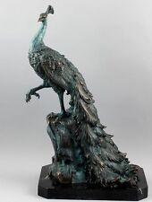 Bronzefigur Skulptur Pfau Peacock Vogel auf Marmorplatte H: 52 cm