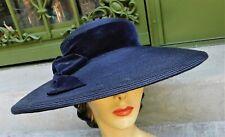 Vintage 1940's Christine Original Wide Brim Straw Hat