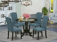 5pc dinette kitchen dining set round pedestal table w/ 4 parsons chairs in black