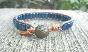 Men's Sports Golf Bracelet with Metallic Blue Magnetic Beads Orange Leather