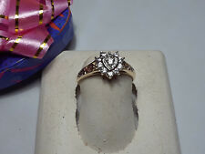 sides 10Kt Yellow Gold Ring #9126A .30cttw Heart Top Cz Open Scrolling