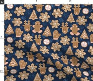 Christmas Gingerbread Cookies Snow Snowflakes Spoonflower Fabric by the Yard