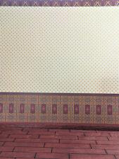 Dollhouse Miniature Brodnax Victorian 3 Part Wallpaper Maroon & Pale Yellow 1:12