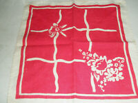 Vintage 2 Linen Napkins Floral Red and White 14 x 14