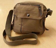 Harwish Multifunctional Men's Unisex Cross Body Small Messenger Bag Canvas Tan