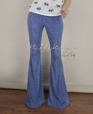FAUX DENIM  BELL BOTTOMS Long BIG FLARE Yoga Stretch Hippie Pants S