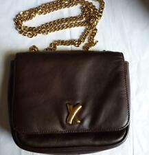 PALOMA PICASSO MADE IN ITALY MAROON LEATHER GOLD CHAIN  BAG