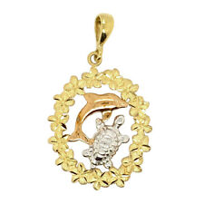 14K Gold Fancy Dolphin & Turtle Diamond Cut Tri -Color Pendant