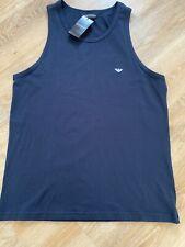 EMPORIO ARMANI Mens Tank Vest Sleeveless Top Size XL XLARGE Blue Slim Stretch