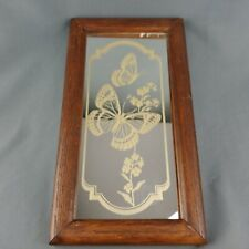 Monarch Butterfly Mirror 12 x 6 inch Retro 1980s Decor Wood Frame
