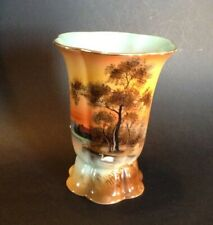 Noritake Pedestal Vase - Hand Painted Tree In The Meadow - Blue Interior - Japan