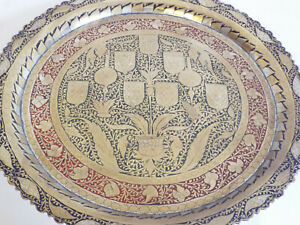 Good vintage antique Indian brass tray with floral decoration#2