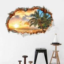 3d Beach Sunshine Window View Removable Vinyl Decal Home Decor Wall Art Stickers Small