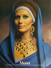 1970 Monet gold necklace earrings jewelry from the sari collection vintage ad