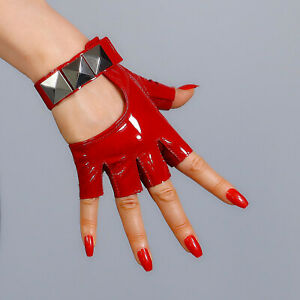 💯% REAL PATENT LEATHER Fingerless Short Gloves Red Silver Studs Half Finger