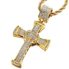 Necklace with Cubic Zirconia and 30 in Mens Women Large Steel Gold Cross Pendant