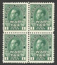 Canada MR1, 1c green Admiral war tax block of 4.  F-VF,  NH