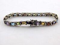 925 UP Thailand Sterling Silver Bracelet Amethyst Citrine Garnet Topaz Peridot