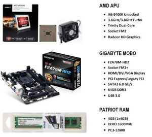 AMD A6-5400K 3.6GHz APU  +  GIGABYTE F2A78M-HD2 MOBO  +  PATRIOT 4GB 1600MHz RAM