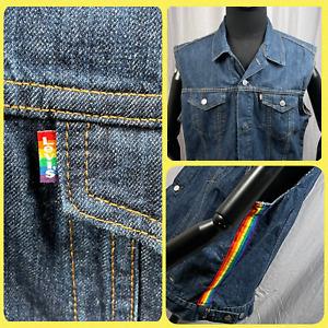 Levi's 2019 Mens Gay Pride LGBTQ Rainbow Trucker Denim Vest Men's Size XL Jacket