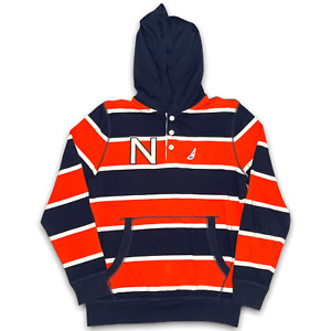 Nautica Hooded Button Long Sleeve Orange/Navy/White Stripes Logo Mens Size Small