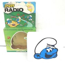 NEW Vintage 1983 Blue RADIO SHACK TANDY SMURF AM RADIO W/ Carrying Strap