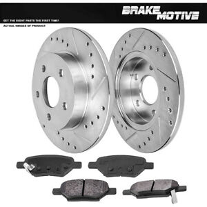 Rear Drilled & Slotted Brake Rotors And Metallic Pads For Cobalt Malibu Ion G6