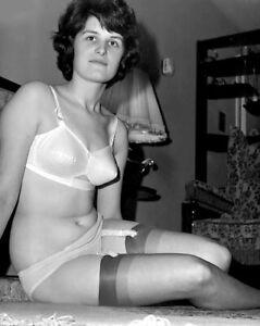 1960s Pin Up Alison Aitken White Bra Panties Garter Hose on floor 8 x 10 Photo