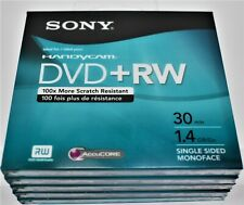 Sony Handycam DVD+RW DPW30R2H 30min 1.4GB Single Sided Disc 5-pack Combo