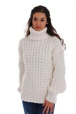 Hand Made Knitted No Mohair WOOL SWEATER T-neck Super Chunky Pullover by SSEu