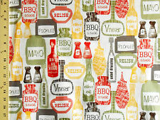 1YD Kitchy CONDIMENTS KITCHEN Retro 1950's Vintage Hot Sauce Mustard Vinegar BBQ
