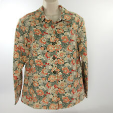 Coldwater Creek Jacket M Tusan Peach Green Linen Blend Floral Stretch Lined