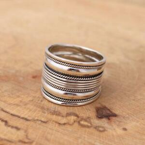 925 Sterling Silver Bali design Wide Band Ring Balinese Jewellery