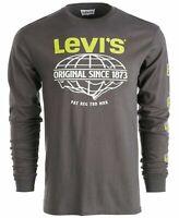 Levi's Mens T-Shirt Gray Size Medium M Crewneck Long Sleeve Graphic Tee $34 #328