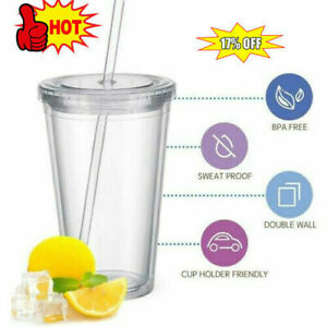 500ml Tumbler Cup With Straw Reusable Double Walled Drink 16oz Iced Cold J9Y1