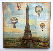 Wall Picture Plaque , Vintage Retro style Handmade,  Paris, Decoupage Decopatch